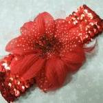 Red Sequin Headband With R..