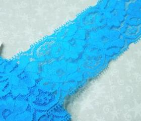 1 yard of 2 1/4 inch Aqua Blue Stretch elastic lace trim for bridal, baby headband, lingerie, garter, hair acc by MarlenesAttic - Item UR